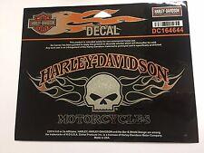 Genuine Harley Davidson Skull Flames Orange & Grey Decal Sticker DC164644