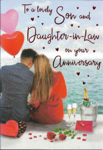 """SON AND DAUGHTER IN LAW ANNIVERSARY GREETING CARD 9/""""X6/"""" NICE VERSE FREE P/&P"""