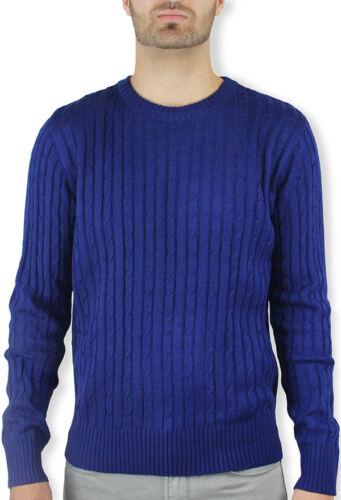 MEN/'S CREW NECK CABLE SWEATER  ROYAL BLUE SW-333