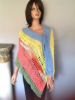 Shawl Wrap Cotton Hand Knit Designer Fashion Lace Summer Hip Chic Fun Multicolo
