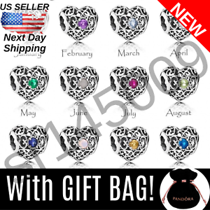 Choose-Authentic-Pandora-SIGNATURE-HEART-Birthstone-Charm-Bag-Silver-S925-ALE