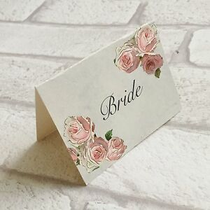 Image Is Loading Wedding Table Guest Place Name Cards Pink Rose