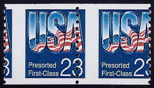 "2607 - 23c Misperf Error / EFO Pair ""USA"" Mint NH"