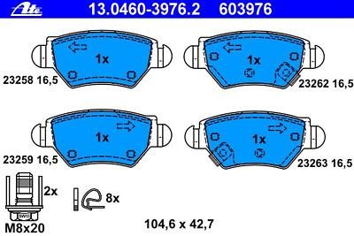 ATE Bremsbelagsatz Scheibenbremse 13.0460-3976.2 für OPEL