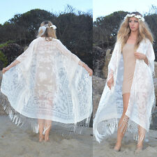 Silk Burnout White Velvet Fringe Hippie Boho Gypsy l Kimono Jacket Wedding