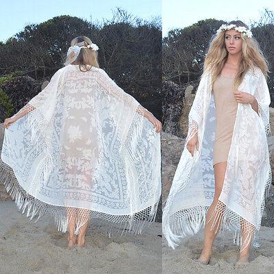 Silk Burnout White Velvet Fringe Hippie Boho Gypsy l Kimono Jacket Wedding