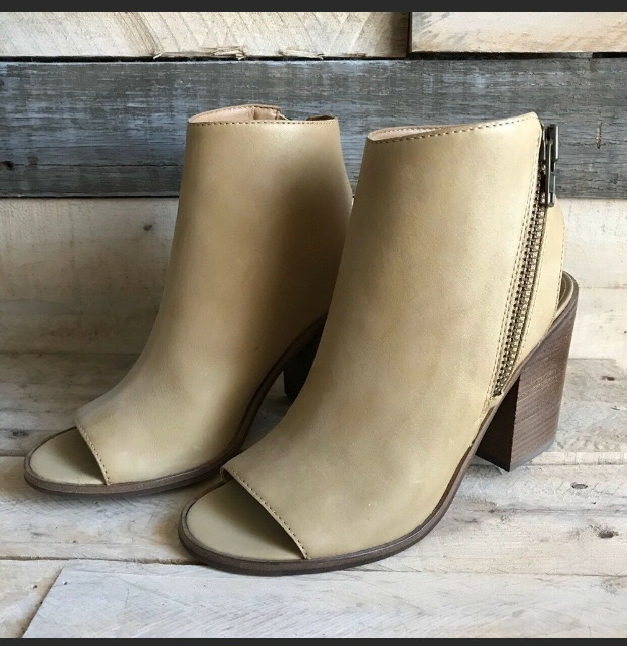 Steve Madden femmes 8.5 Terraa Leather Open Toe démarrageies Heels Ankle bottes Zipper