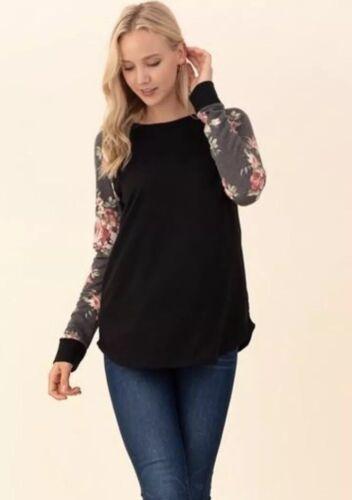 NWT Womens Small Black Floral Long Sleeve Raglan BOUTIQUE TOP Christmas