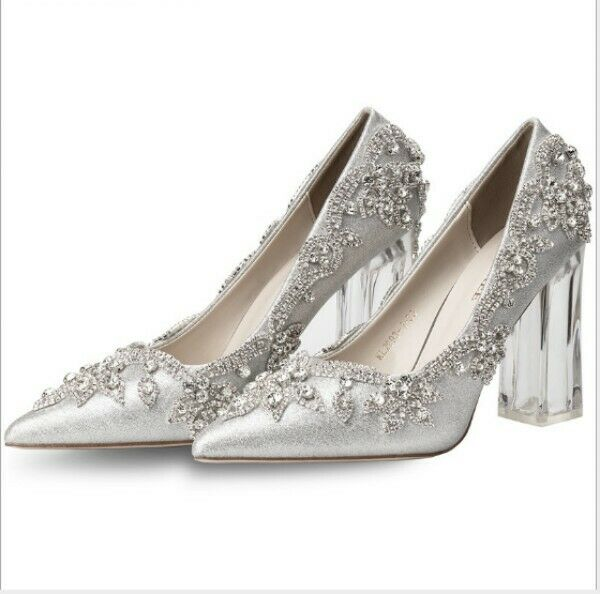 Womens Womens Womens Rhinestone Sequin Slip On Pumps Silver Wedding Bridal Sandal shoes 2019 be763c