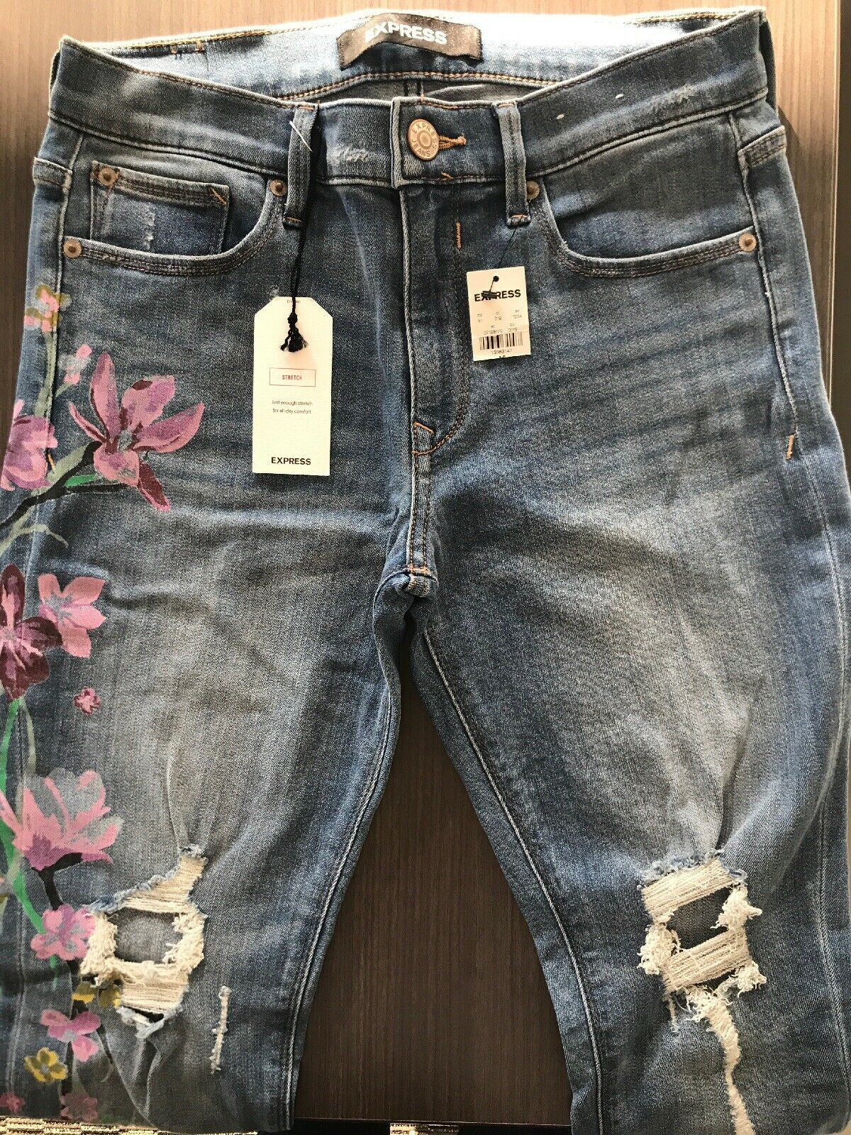 f2805d09531 Express Legging Mid Rise 4R Stretch+ Jeans Jeans Jeans with Painted Flowers  98 0606b3