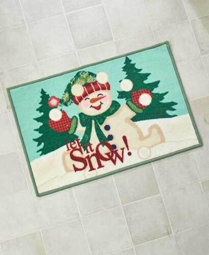 Let It Snow SNOWMAN CHRISTMAS BATH RUG Jolly Mat Holiday Tree Frosty Ball Whimsy