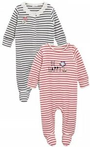 Bnwt Next Baby Girl Navy/red Be Happy Sleepsuits Two Pack **size 1.5-2years** Sophisticated Technologies One-pieces Baby & Toddler Clothing
