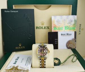 ROLEX LADIES 18kt Gold & SS Datejust Tahitian MOP Diamond Dial 179313 SANT BLANC