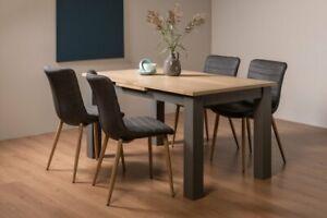 Hopper Scandi Oak 4-6 Seat Table & 4 Eriksen Dark Grey Faux Leather Chairs