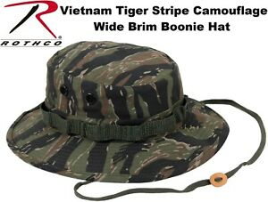 fe88b9d7058 Image is loading Vietnam-Tiger-Stripe-Camouflage-Military-Wide-Brim-Bucket-