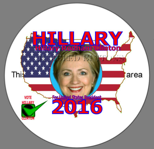 Hillary Clinton for President Large Button Pin 3.5/""