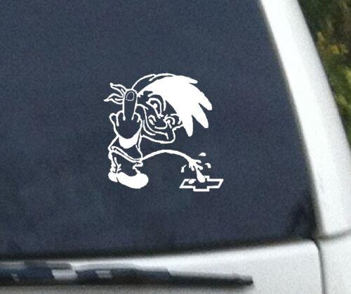 PEE PISS ON CHEVY BOWTIE VINYL DECAL truck car window vinyl decal stickers