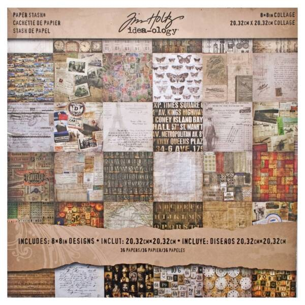 Tim Holtz Timth.93551 Etcetera Paper Stash By Idea-ology 8 x 8 Inch Sheets 36