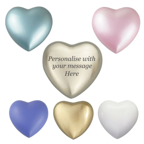 Silver Gold Blue Pink Purple White Heart Urn Keepsake Cremation Ashes ENGRAVING