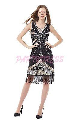 OP 1008 Ladies Costume Fancy Dress 20s Flapper Gatsby Gangster Black Sequin 6-14
