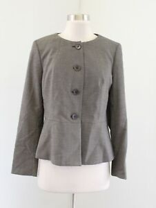 NWT Talbots Womens Brown Collarless Button Front Blazer Jacket Size 8P Career