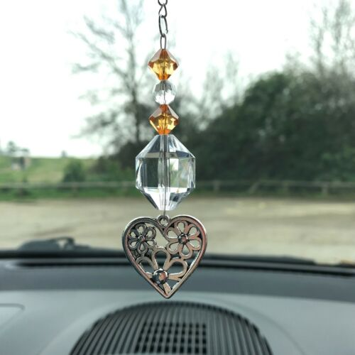 New Hanging Car Charm ~ Sun Catcher Love Heart Mobile ~ Orange ~ Gift Idea