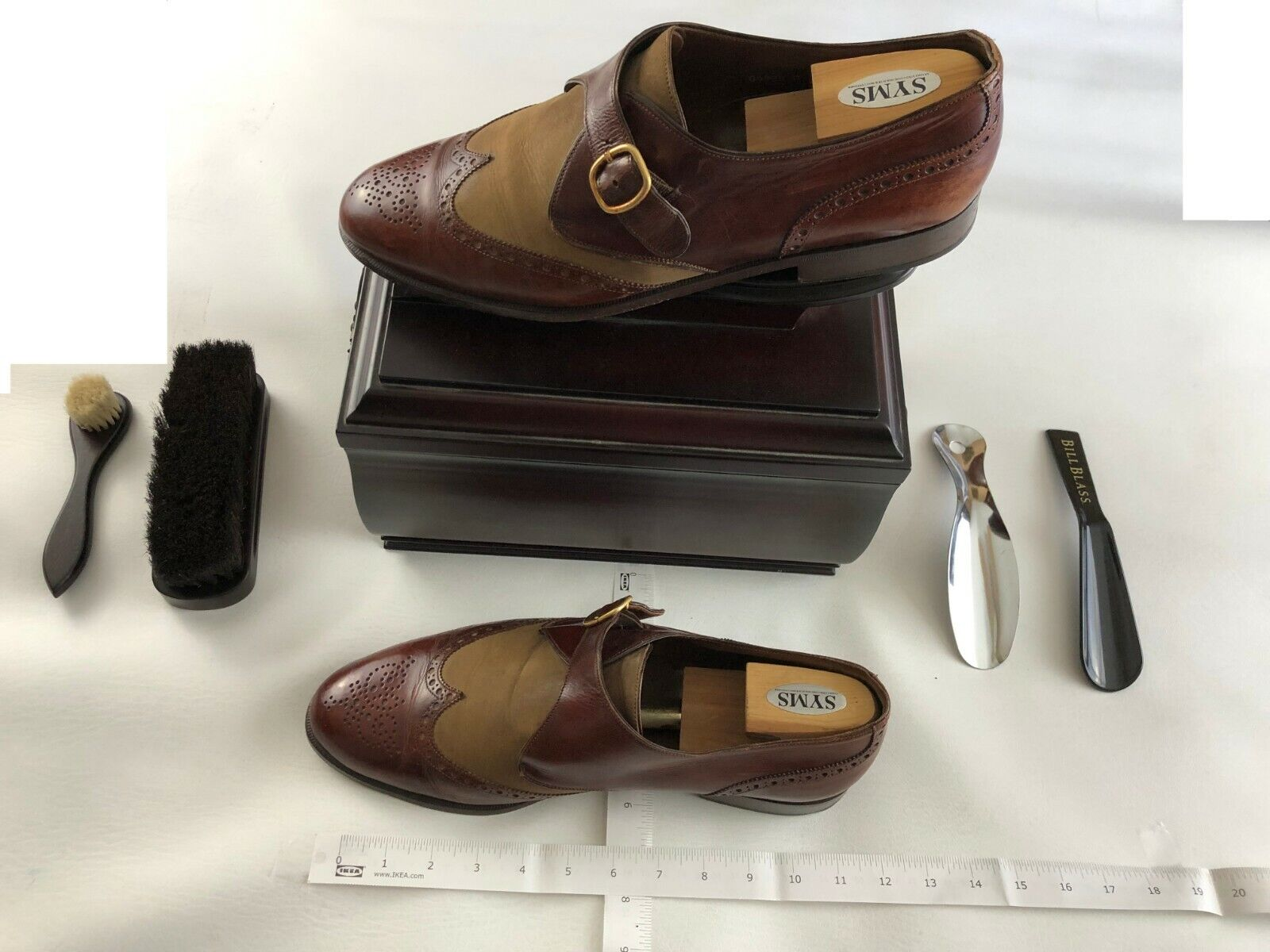 BRUNO MAGLI ITALY MEN'S DRESS SHOES Size 14 M Buckled Strap Brown & Sand