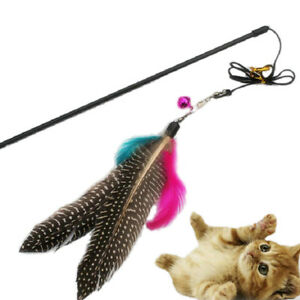 Kitten-Play-Interactive-Game-Fun-Pet-Toy-Cat-Teaser-Wand-Colorful-Feather-Bell