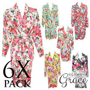 6-PACK-Bridal-Wedding-Bride-Bridesmaid-Floral-Vintage-Dressing-Gown-Robes-Cotton