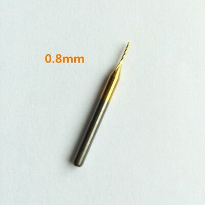 1* Titanium Coated Carbide End Mill Engraving Bits CNC PCB Rotary Burrs 0.8-2.5