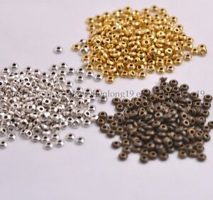100PCS-Tibetan-Silver-Gold-Bronze-Spacer-Beads-Jewelry-Findings-4MM-E3080