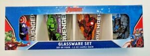 NEW NIB Marvel Avengers Glassware Collectors Set 4 Shot Glasses Glass 1.5 ounces