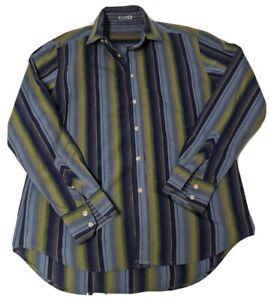 Robert-Graham-L-Dress-Shirt-Button-Up-100-Cotton-Long-Sleeve-Striped-Green-Blue