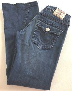 True-Religion-JOEY-BIG-T-Jeans-Low-Rise-Medium-Wash-Flare-Twisted-Hem-Women-28