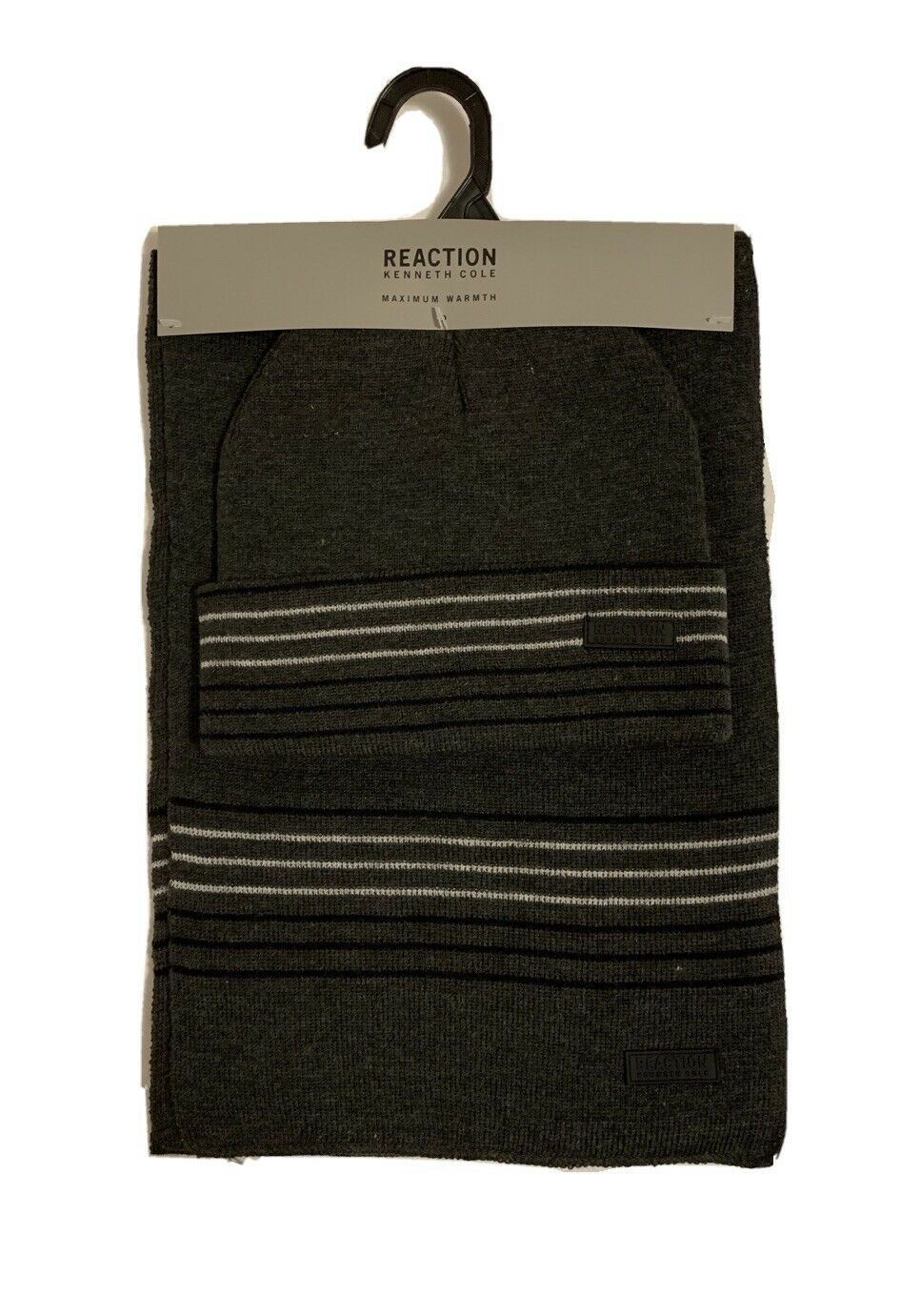 NEW Kenneth Cole Reaction Men's Scarf Hat 2 pc Set Gray
