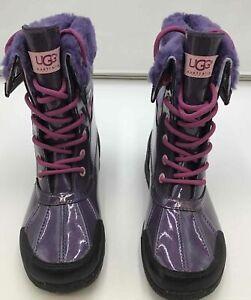 UGG Kids Butte II UGGPURE Wool Lined Waterproof Boots 1005581K- Purple- Size 5