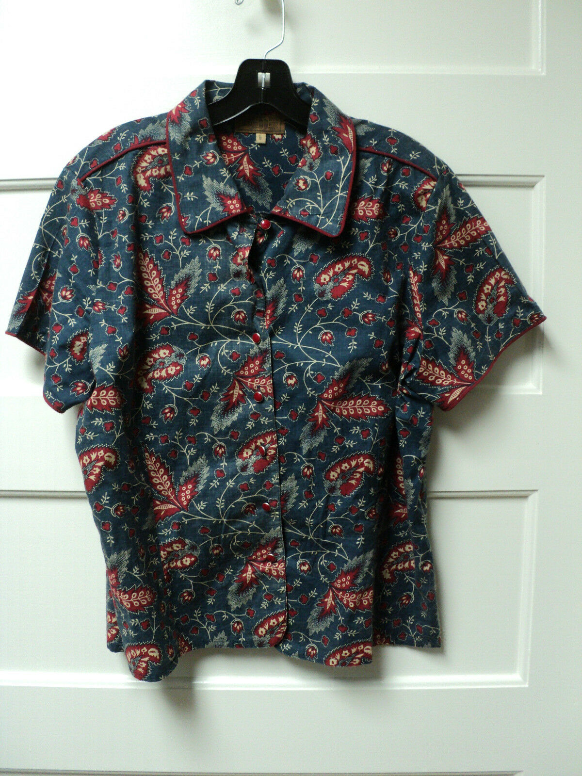 DOUBLE D RANCHWEAR Blau rot PAISLY  SHORT SLEEVE COTTON FITTED TOP, Größe LARGE