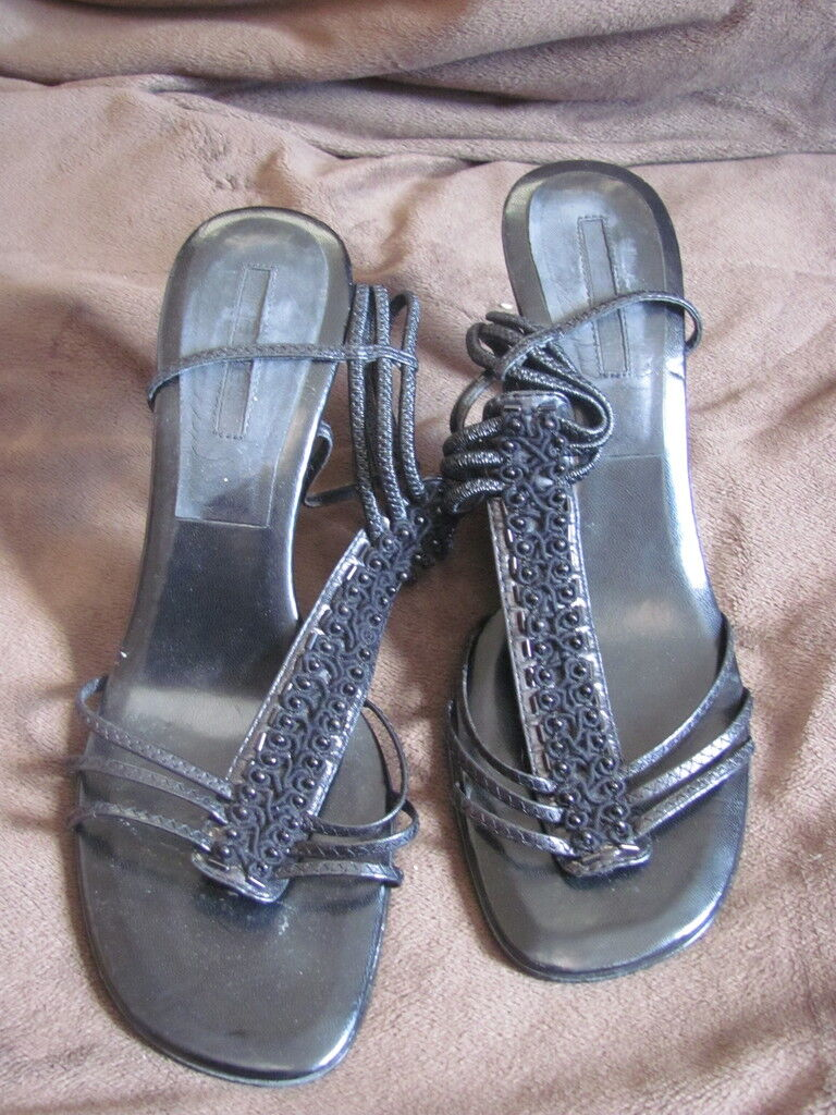WOMEN'S NINE WEST STRAPPY OPEN-TOE SANDALS HEELS BLACK 8.5 MEDIUM