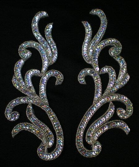 LR119 Mirror Pair Floral Sequin Bead Applique Motif Silver Belly Dance/Dancewear