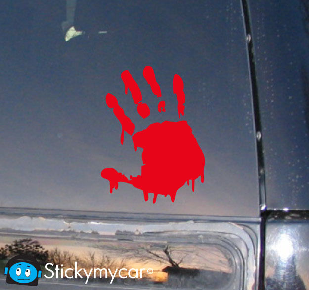 Bloody Zombie Hand Print (Right Hand) car decal sticker red  kit walking dead