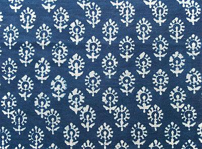 2½ Yards Hand Block Print Cotton Natural Indigo  Indienne India  Dabu Fabric DIY