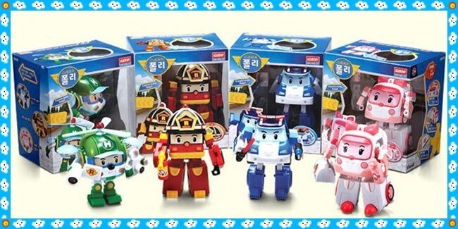 Robocar Poli Deluxe Transformers Robot toy 4ea complet set POLI,ROY AMBER,HELLY
