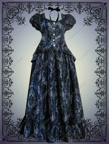 Victorian Dresses | Victorian Ballgowns | Victorian Clothing    Victorian Steampunk Gothic Civil War Halloween Costume Black Top Skirt Dress £142.00 AT vintagedancer.com