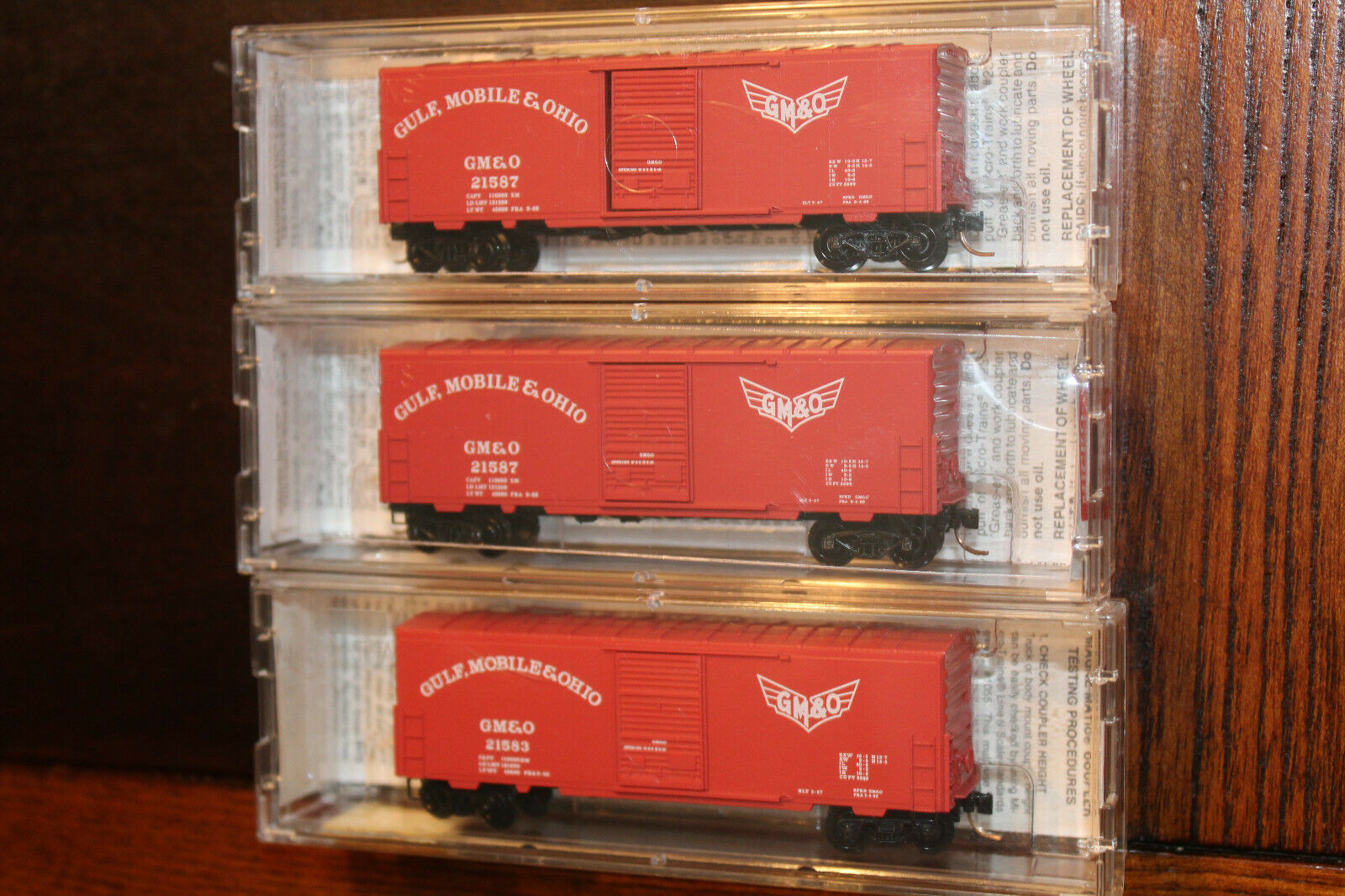 N SCALE LOT OF 3 GULF, MOBILE & OHIO - 40' STANDARD BOX CARS ,  BY MICRO TRAINS