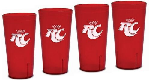 Royal Crown Cola RC Logo Red Plastic Tumblers Set of 4-16oz