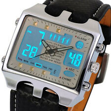 Cool OHSEN Mens Stainless Steel Waterpoof Leather Digital LED Quartz Alarm Watch