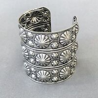 Vintage Retro 2.5 Top Wide Antique Silver Finished Metal Cuff Bangle Bracelet