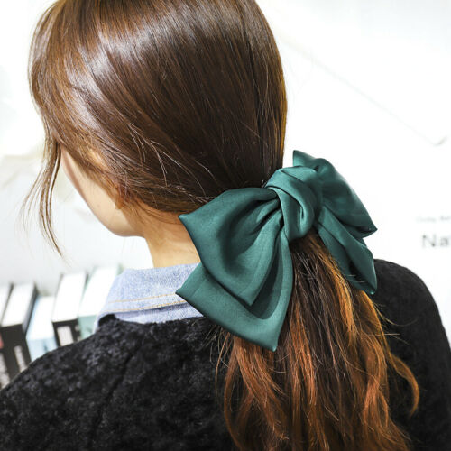 Details about  /Girls Accessories Ribbon Bow Hair Pin Bowknot Hair Clip Barrette Solid Color 1PC