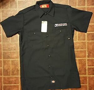 Embroidered usps postal logo dickies short sleeve for Embroidered dickies work shirts