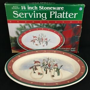 VTG-Oval-Serving-Platter-14-034-by-Royal-Seasons-Stoneware-Snowmen-RN2-Christmas